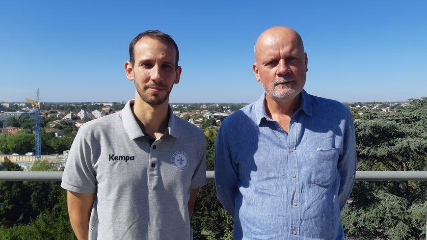 Pablo Morel, l'entraîneur du HBC Celles, et Frédéric Vignier, le président du club, travaillent à la montée en LFH