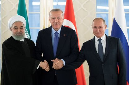 Hassan Rouhani, Recep Tayyip Erdogan et Vladimir Poutine à Ankara pour une discussion sur la situation en Syrie