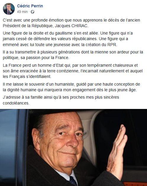 Cédric Perrin réagit sur sa page Facebook.