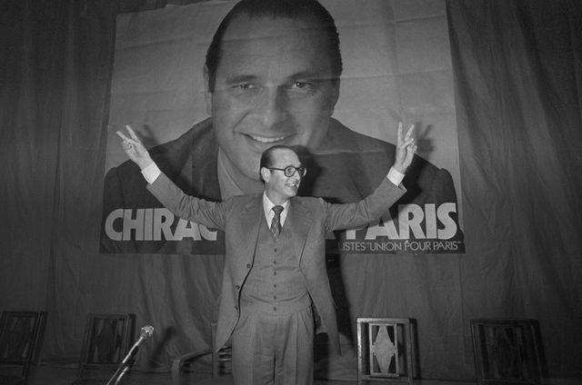 Jacques Chirac, ici le 25 février 1977, lors d'un meeting au Cirque d'Hiver, à Paris