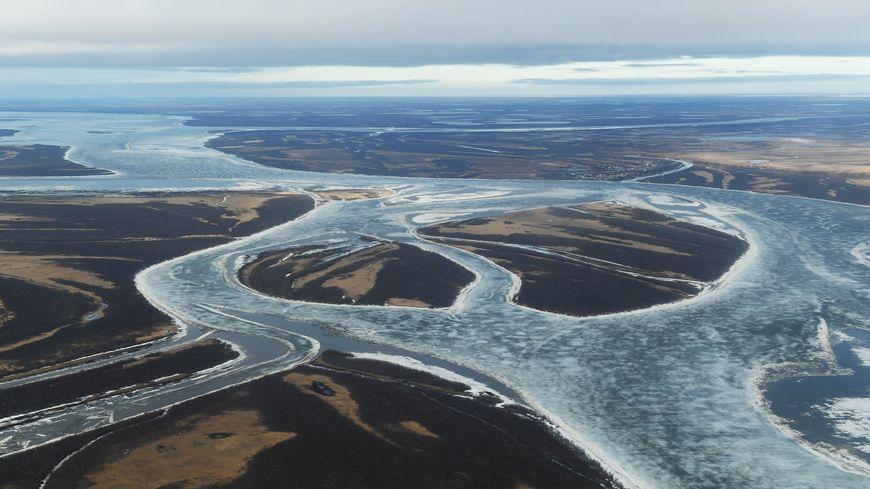 Vue du Yukon Delta en Alaska où le réchauffement climatique est particulièrement prégnant, en avril 2019
