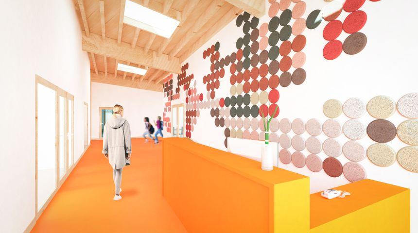 Une vue de l'intérieur du futur bâtiment