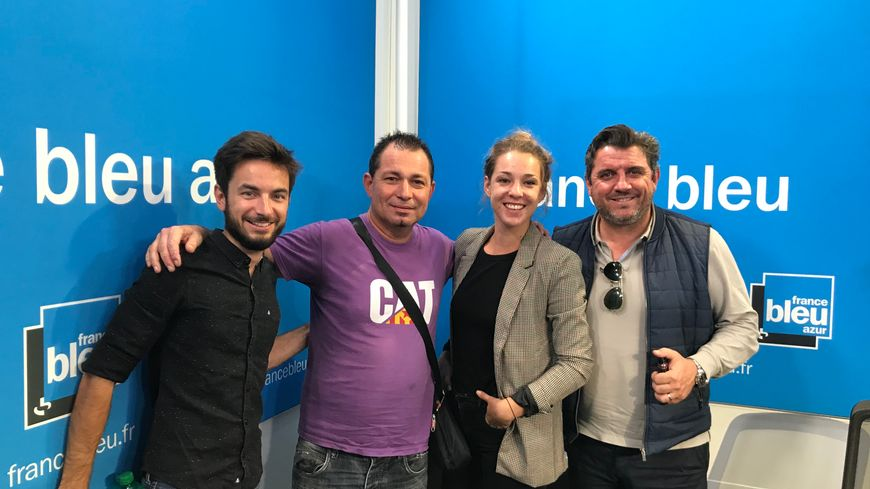 Maxime Bacquié (journaliste), Patrice Arnaudo (supporter et prof de Nissart), Lisa Gehanne (animatrice) et Patrice Alberganti (consultant)