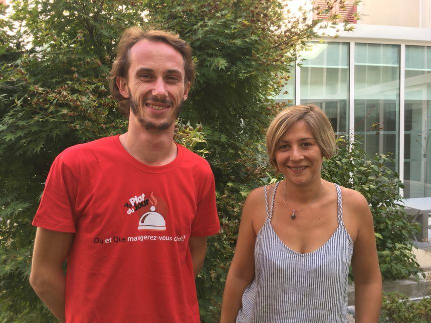 """Ludovic Mathorel et Caroline Ravat, deux des concepteurs de l'application """"Au plat du jour"""""""