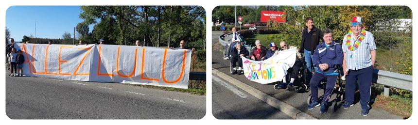 Beaucoup de messages d'encouragement sur le bord de la route