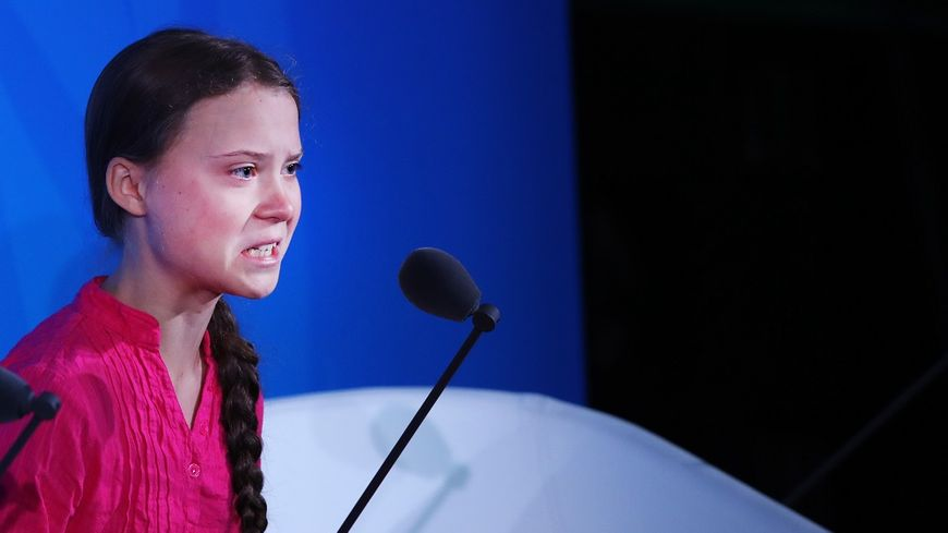 La militante suédoise Greta Thunberg lors de son discours devant les dirigeants de l'ONU ce lundi.