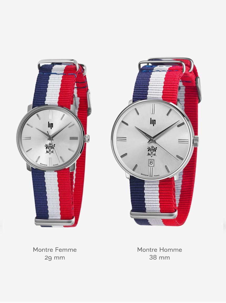 Les deux montres collector LIP - modèles femme et homme - vendues dans la Boutique de l'Elysée