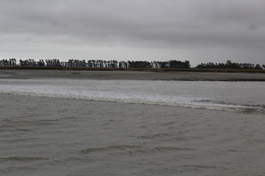 Le mascaret envahit la baie sous forme de vague blanche 1h45 avant la pleine mer