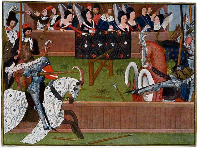 Deux chevaliers lors d'un tournoi sous le regard du roi de France, illustration manuscrite du roman de Sire Jehan de Saintre par Antoine de La Sale (1470)