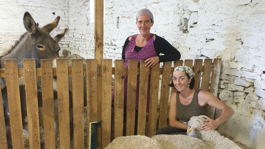 Agnès Bontemps et Amandine Ruel à l'Asinerie du Bois Gamats à Laval