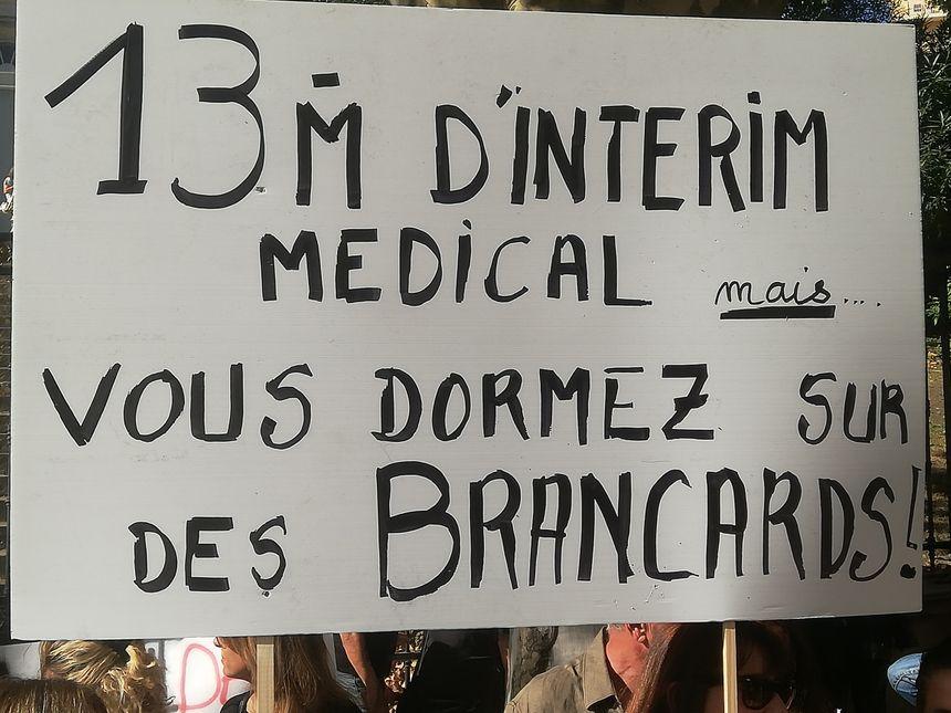 Un des slogans de la manifestation Santé de ce jeudi à Bastia