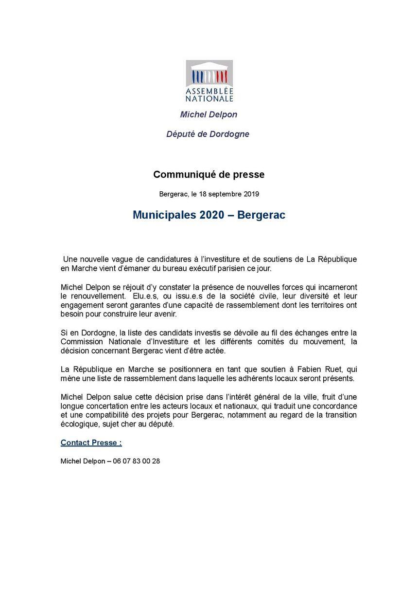 Le communiqué du député LREM Michel Delpon