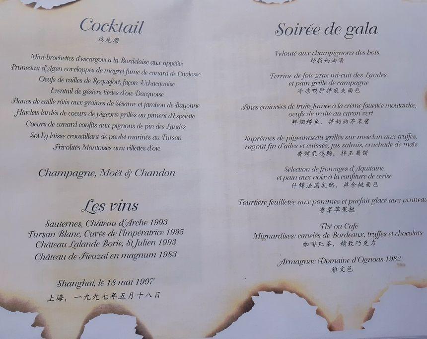 Le menu cuisiné par Didier Garbage pour Jacques Chirac et ses 500 invités à Shangaï