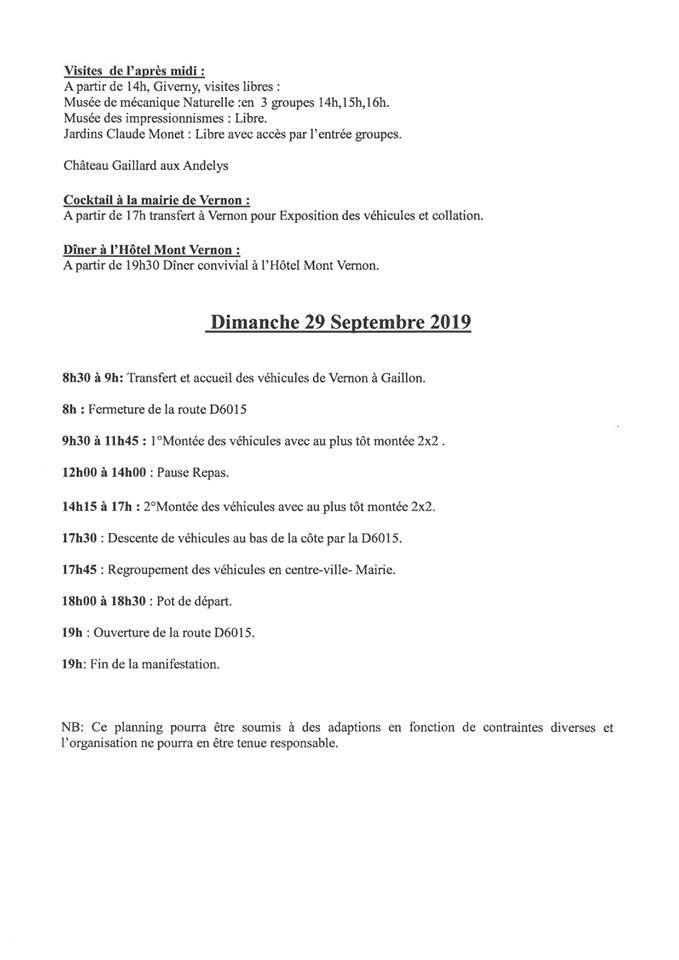 Programme des 120 ans de la montée de la côte de Gaillon (dimanche)