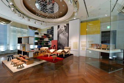 Exposition interactive Timeless Muses, réalisée par la maison de couture française Louis Vuitton à Tokyo, montre un intérieur conçu par l'architecte et designer française Charlotte Perriand.