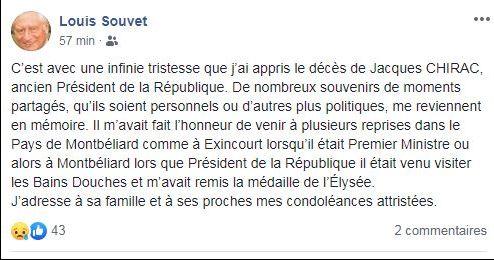 Réaction de l'ancien sénateur-maire de Montbéliard Louis Souvet sur sa page Facebook.