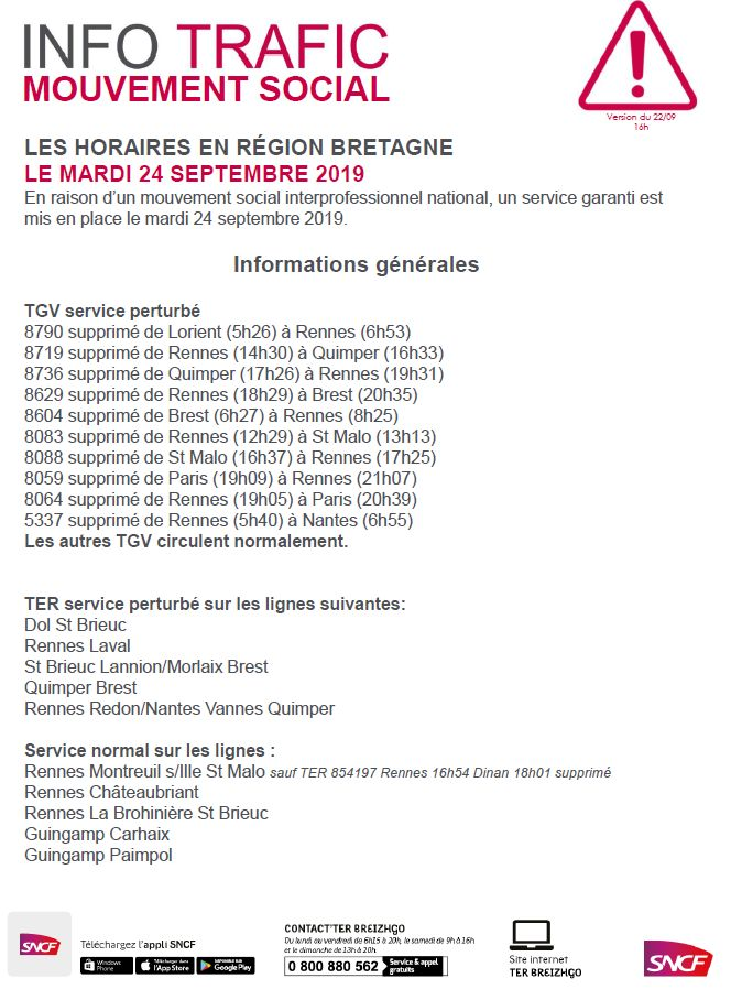 Les trajets annulés par la SNCF ce mardi 24 septembre