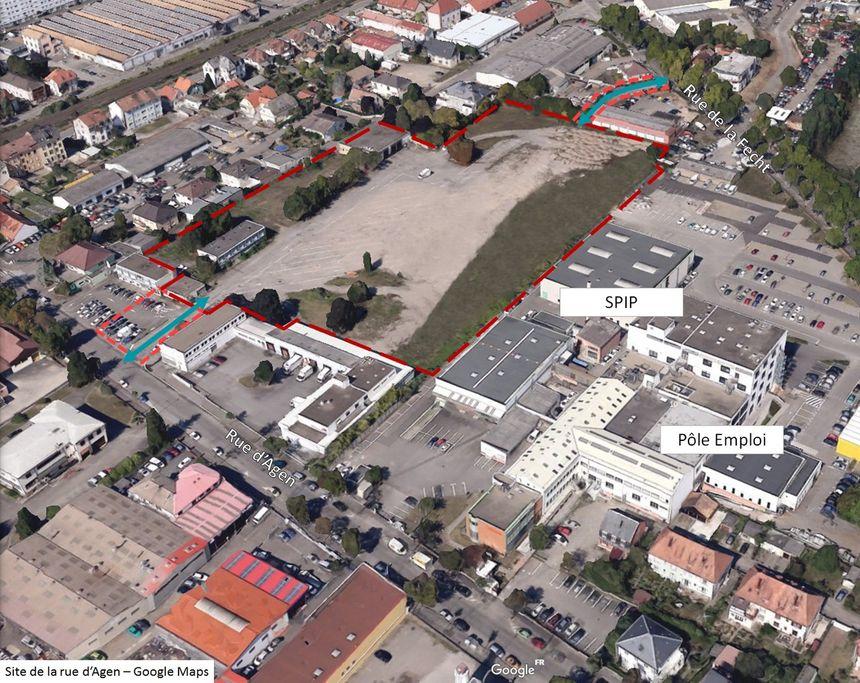 L'emplacement futur de la structure d'accompagnement vers la sortie entre la rue d'Agen et la rue de la Fecht