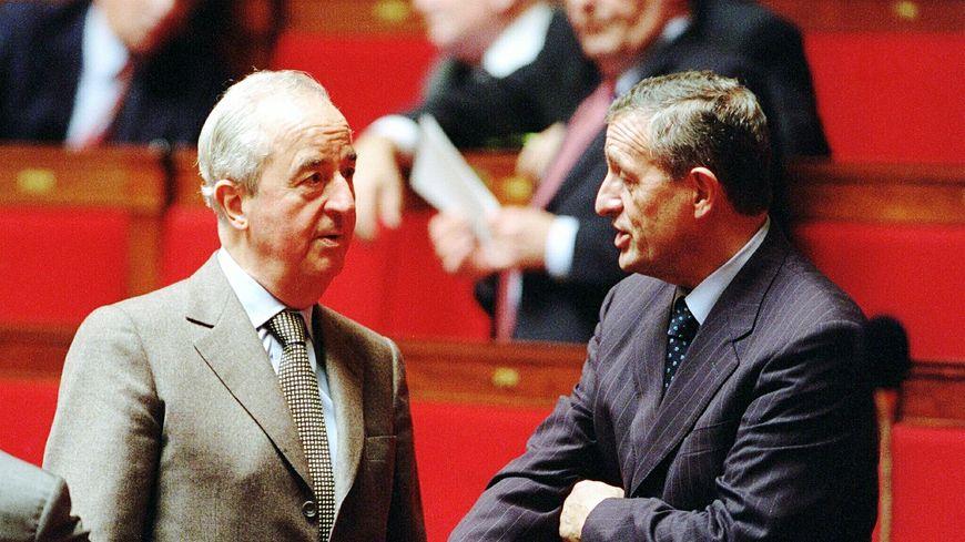 Édouard Balladur et François Léotard en novembre 2000 à l'Assemblée nationale