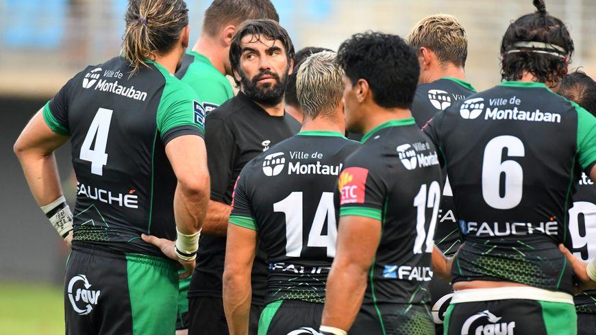 L'équipe de rugby de Montauban en match amical à Perpignan, en août 2019.