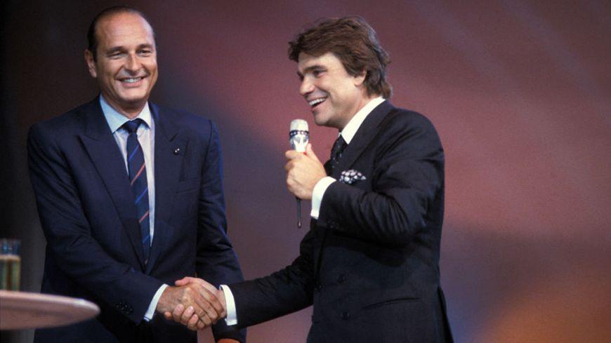 Jacques Chirac et Bernard Tapie à la soirée des 40 ans du magazine Paris-Match, le 18 septembre 1987 à Paris