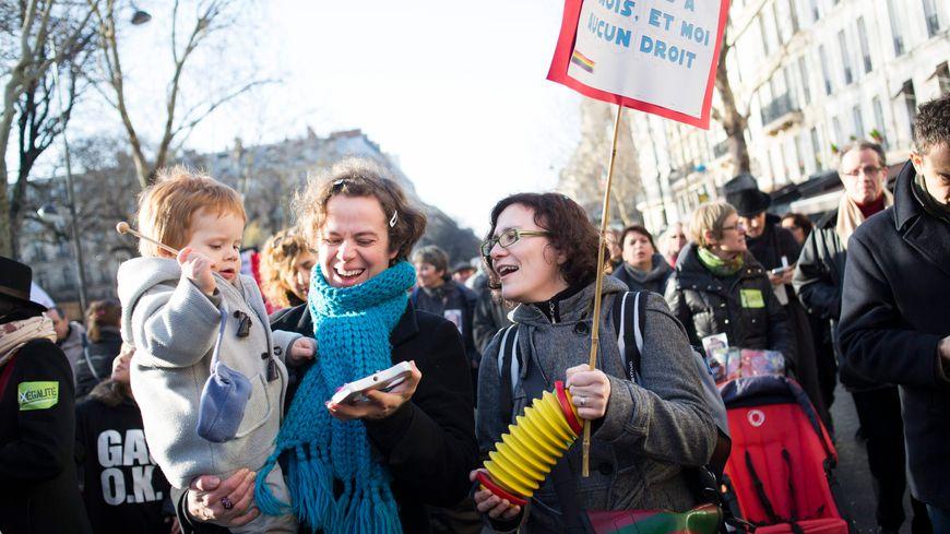 Paris, le 27 janvier 2013 - Manifestation nationale en faveur du mariage pour tous, avec de nombreuses familles homoparentales.