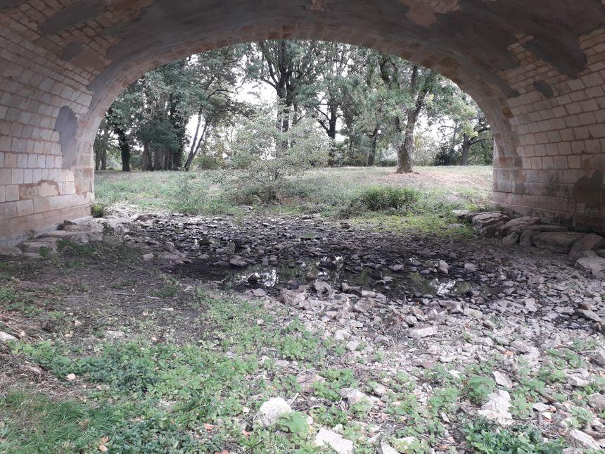 Sous une partie du pont de Déols, l'Indre n'est plus qu'une flaque d'eau