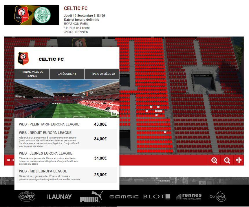 Des places en vente à 43€ ce mardi après-midi en tribune Ville de Rennes. Capture écran billetterie SRFC