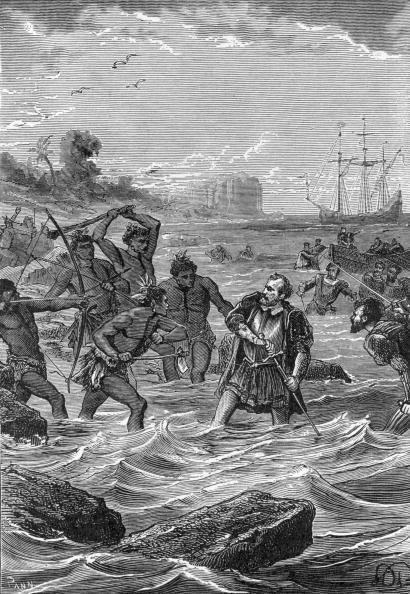 Gravure de Magellan affrontant les natifs de l'île de Malcan. Le navigateur portugais est tué le 27 avril 1521.