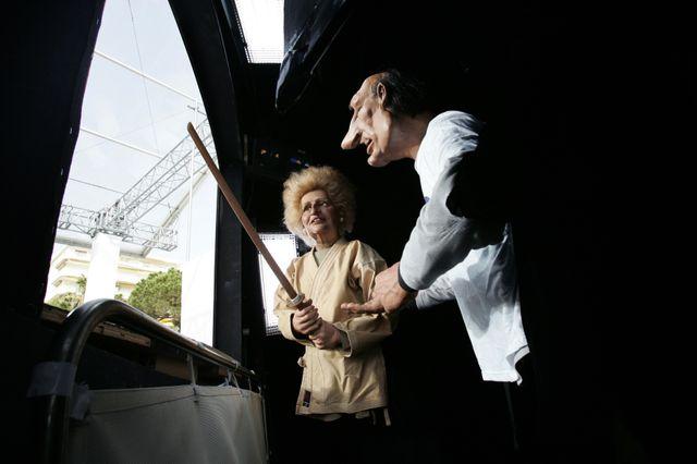 Les marionnettes de Jacques et Bernadette Chirac vues des coulissess
