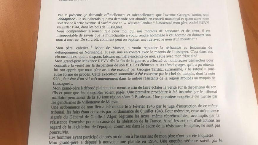 Extrait de la lettre envoyée par Gérard Révy au maire de Mont-de-Marsan