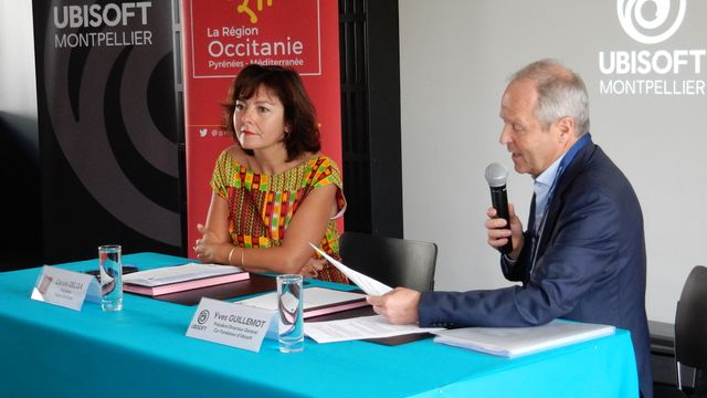 Carole Delga, présidente de la région Occitanie, et Yves Guillemot, président d'Ubisoft