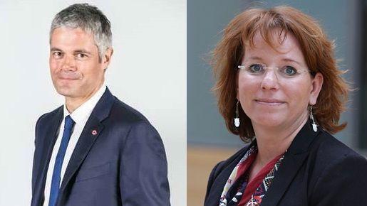 Laurent Wauquiez, président d'Auvergne-Rhône Alpes et Anna Aubois, conseillère régionale d'opposition