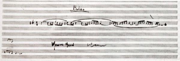 Manuscrit signé de Maurice Ravel reproduisant les cinq premières mesures du Boléro.