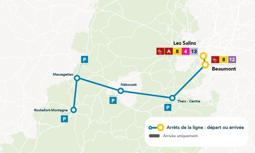les aires de covoiturage de Rochefort-Montagne, Massagettes, Nébouzat et Theix sont dotées de places de parking.