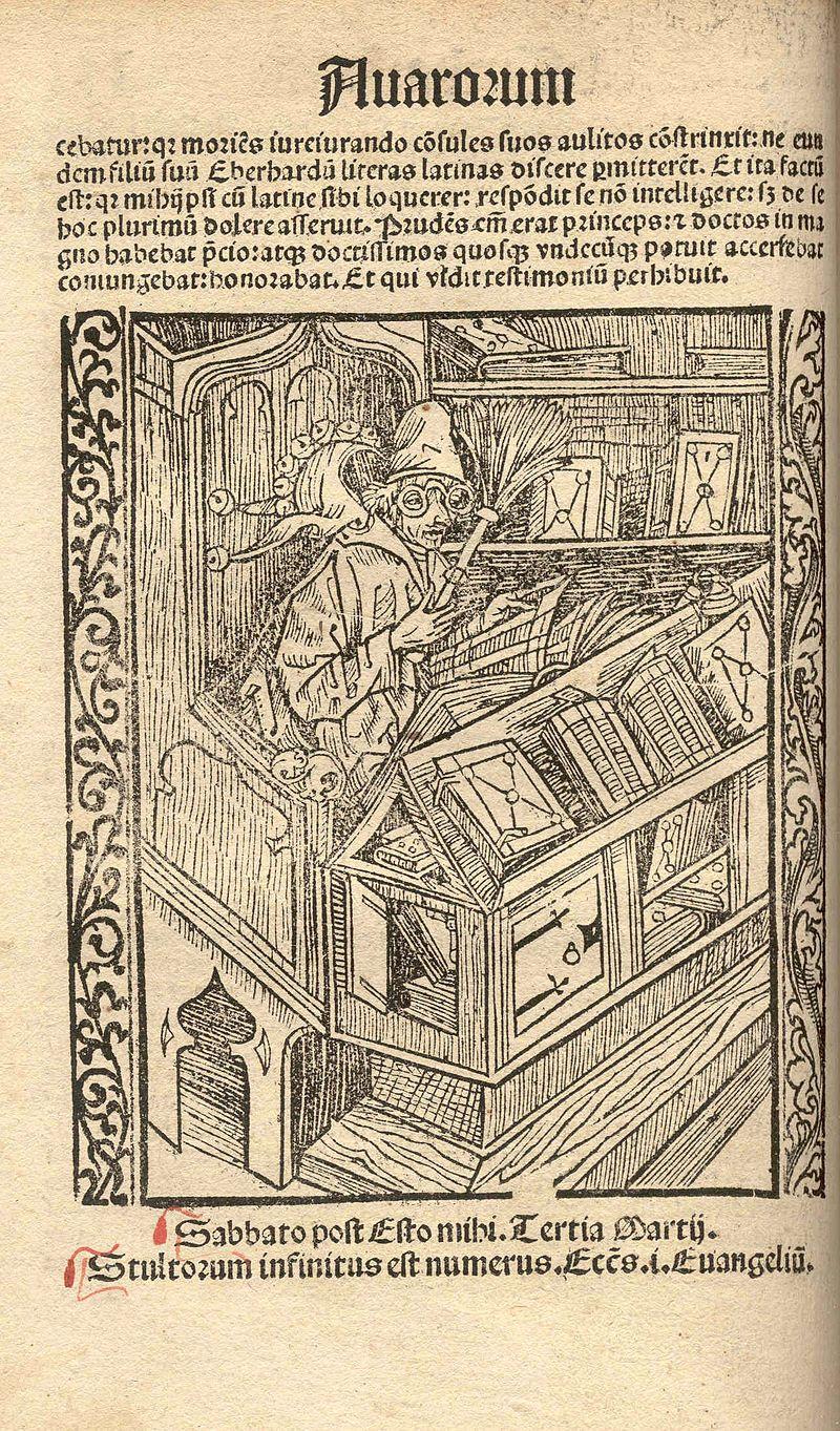 Le « fou de livres » (Bëchernarr) dans une édition strasbourgeoise de 1510.