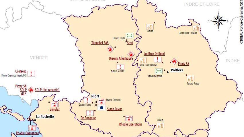 La carte des sites Seveso dans le Poitou