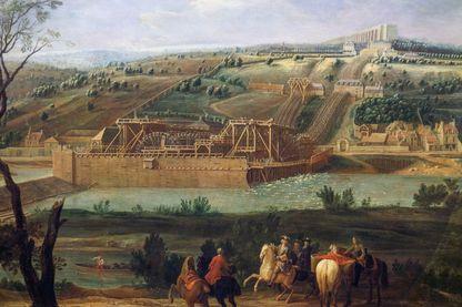 La machine Marly sur la Seine avec l'aqueduc de Louveciennes en arrière-plan, 1723, Pierre Denis Martin