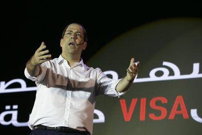 Le premier ministre sortant, Youssef Chahed, lors du lancement de sa campagne électorale le 2 septembre à Tunis.