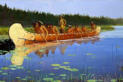 Radisson lors de l'expédition aux Grands Lacs de 1659-1660 en compagnie de Médard Chouart des Groseilliers - peinture de Frederic Remington (1905)