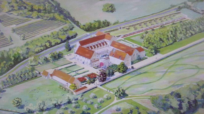 Un esquisse de l'abbaye de Noirlac et de ses futurs jardins