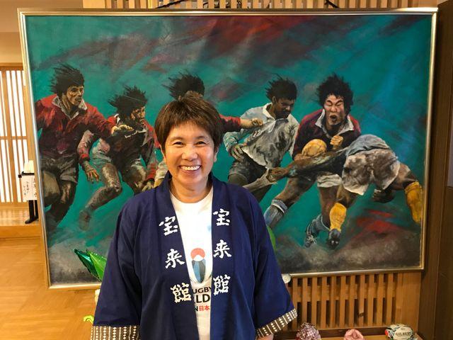 Akiko Iwasaki, habitante de Kamaishi et victime du tsunami de mars 2011. Elle a été l'une des premières à réclamer le retour du rugby dans la ville malgré les énormes dégâts