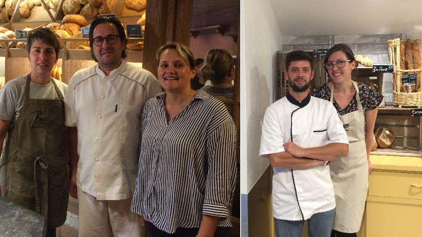 """A gauche, Emmanuel et Catherine Brunet accompagnés (à g.) de leur vendeuse Christelle, à droite : Aurore Oubron et Nicolas Léger, de la boulangerie """"Au fil des Fournées"""""""