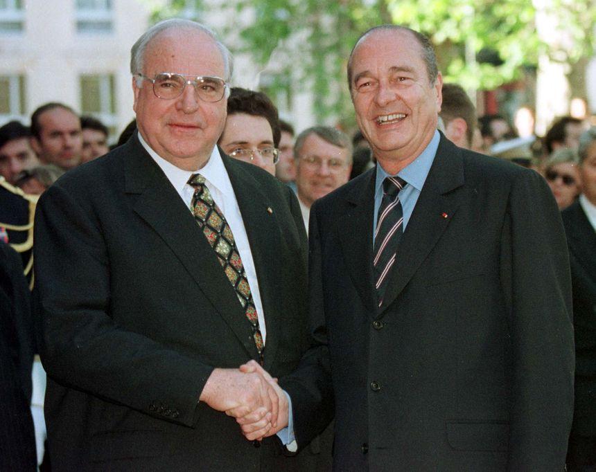 Helmut Kohl et Jacques Chirac