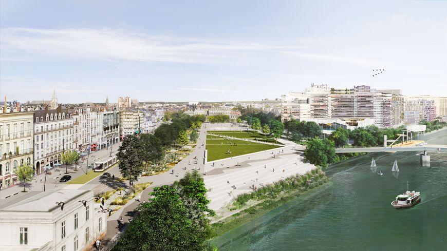 Vue aérienne de la future place de la Petite-Hollande. Image de synthèse.