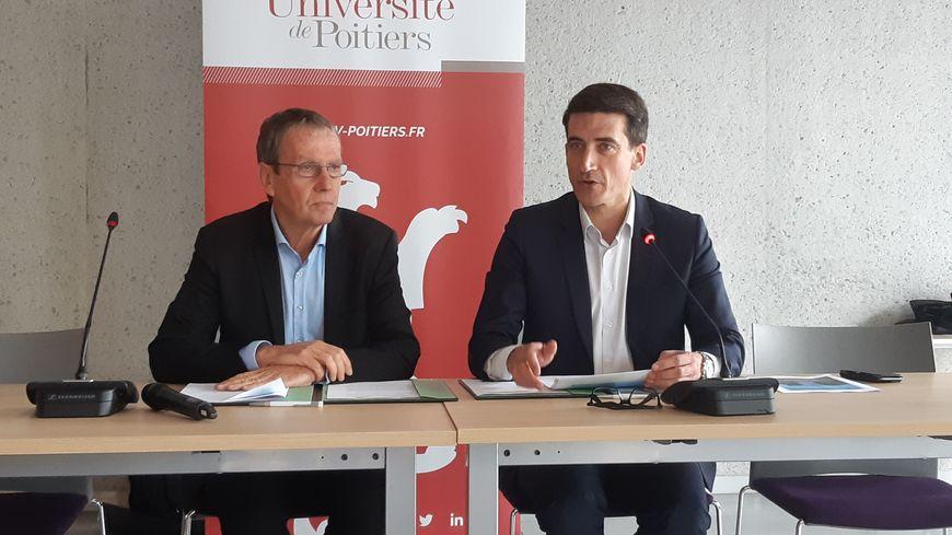 Yves Jean, président de l'université de Poitiers, et Jérôme Baloge, maire de Niort et président de l'agglomération ont renforcé leur partenariat