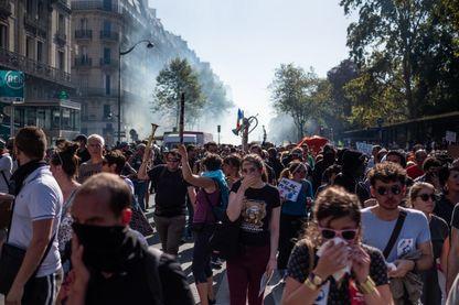 Manifestation pour la justice sociale et climatique perturbée par des manifestants radicaux, 21 septembre, Paris.