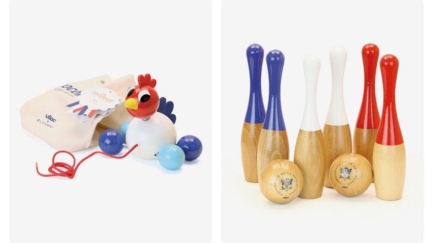 Les deux premières références du fabricant jurassien de jouets en bois Vilac dans la Boutique de l'Elysée : un coq à promener et un jeu de six quilles vernies bleu-blanc-rouge