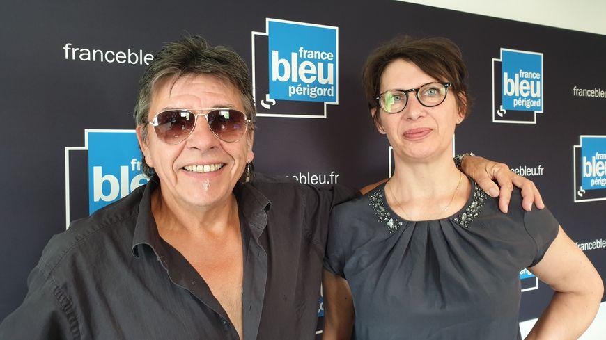 Le batteur des stars, Jeff Gautier et sa compagne Marianne dans les studios de France Bleu Périgord