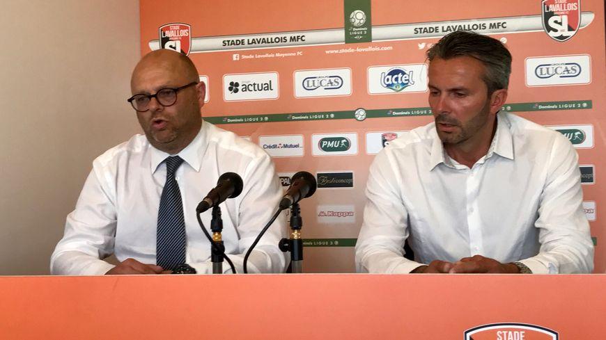 Le président du Stade lavallois, Philippe Jan (à gauche) et son directeur sportif, Jean Costa.